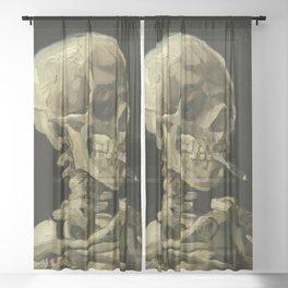 Vincent van Gogh - Skull of a Skeleton with Burning Cigarette Sheer Curtain