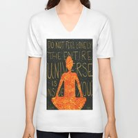 buddha V-neck T-shirts featuring Buddha by Zoë Miller