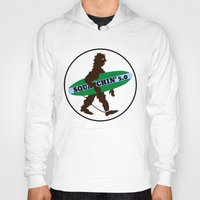 sasquatch Hoodies featuring Sasquatch Squatchin' Surfing Bigfoot by mailboxdisco