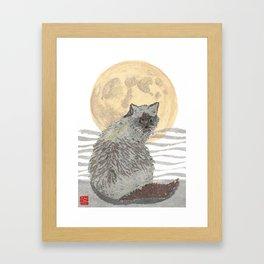CAT, Moon, Mixed Media Framed Art Print