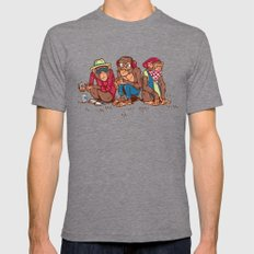 Three Wise Hipster Monkeys Mens Fitted Tee Tri-Grey LARGE
