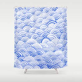 Watercolor Waves - China Blue Shower Curtain