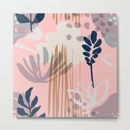 Abstract Leaves and Flowers II Metal Print