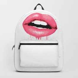 Pink Lips Art Watercolor Print Kiss Love Sexy Girl Fashion Poster Lipstick Chic Makeup Decor Backpack