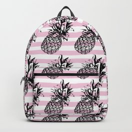 Pink Striped Pineapple Pattern Backpack