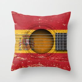 Old Vintage Acoustic Guitar with Spanish Flag Throw Pillow