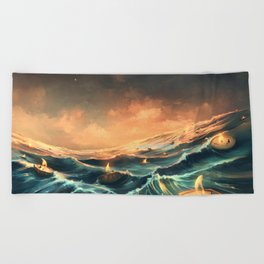 Refugees in a nutshell Beach Towel
