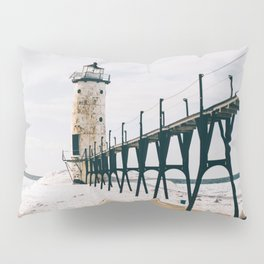 Manistee Lighthouse In Winter Pillow Sham