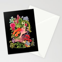 Spring Flowers (Black) - ハルの花 Stationery Cards