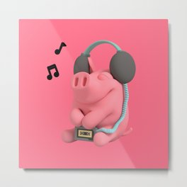 Rosa the Pig Walkman Metal Print