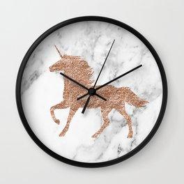 Rose gold unicorn on marble Wall Clock