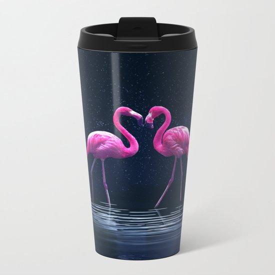 Flamingo love Metal Travel Mug