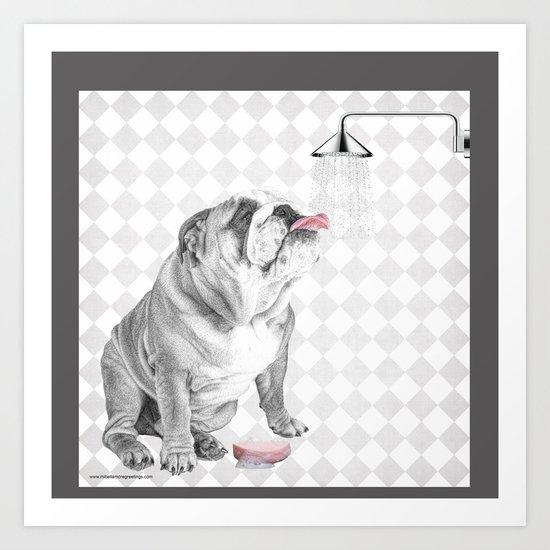 Bulldog taking a shower by mibellamore