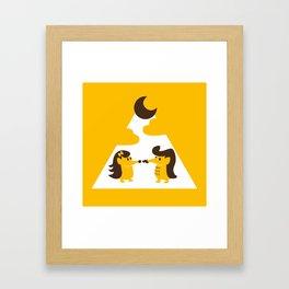 Hedgehogs in the moonlight Framed Art Print