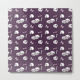 Skully in purple Metal Print