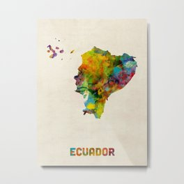 Ecuador Watercolor Map Metal Print