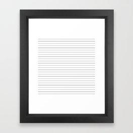 White Black Lines Minimalist Framed Art Print