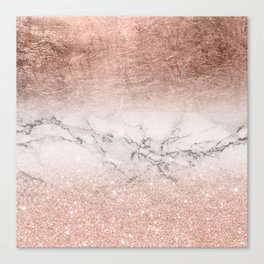 Modern faux rose gold glitter and foil ombre gradient on white marble color block Canvas Print