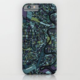 Winnipeg Map - blue/grey/green/purps iPhone Case