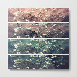 Van Gogh Almond Blossoms Teal Mauve Myrtle Green Metal Print