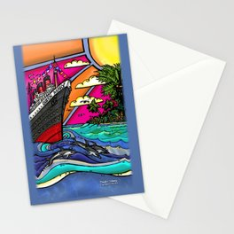 Queen Mary and Dolphins Stationery Cards
