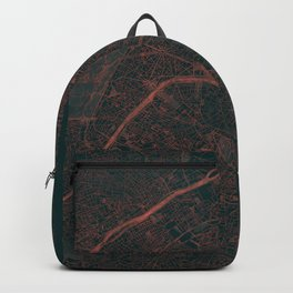 Paris Map Red Backpack