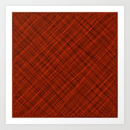 Royal ornament of their red threads and dark intersecting fibers. Art Print