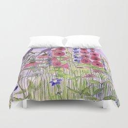 Watercolor Wildflower Garden Flowers Hollyhock Teasel Butterfly Bush Blue Sky Duvet Cover