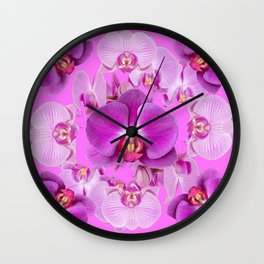 Ornate Pink & Purple  Butterfly Orchids Wall Clock