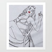 pin up Art Prints featuring pin up by Marcella Wylie