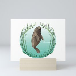 West Indian Manatee in Eel Grass Wreath Mini Art Print