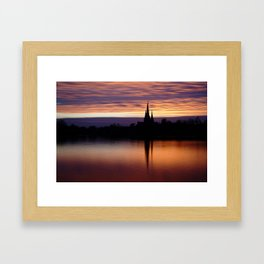 Sunset Reflection At The Lichfield Cathedral Framed Art Print