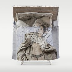 A day in bed Shower Curtain