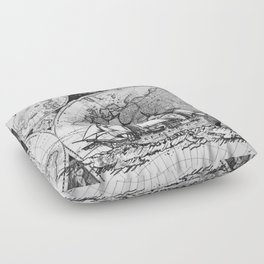 ship on a background map . black and white . keep moving forward Floor Pillow