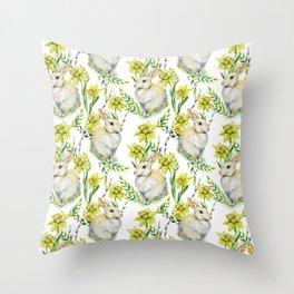Spring yellow green watercolor daffodil rabbit pattern Throw Pillow