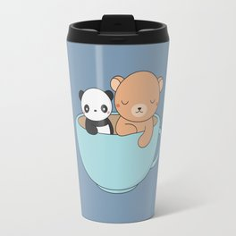 Kawaii Cute Brown Bear and Panda Travel Mug