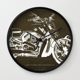 2011 HD VRSCF V-Rod Muscle marron blueprint Wall Clock