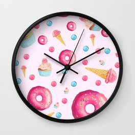 Sugar Sweet Tooth Pink Wall Clock