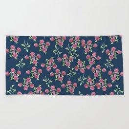 Roses on blue Beach Towel