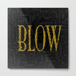 Blow BLACK & GOLD / Horn instruments forming type and background Metal Print