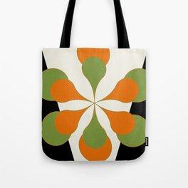 Mid-Century Modern Art 1.4 - Green & Orange Flower Tote Bag