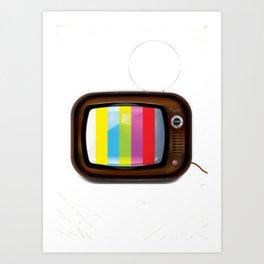 Old vintage colour Vintage Television Art Print