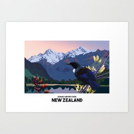 RETRO NEW ZEALAND POSTER Art Print