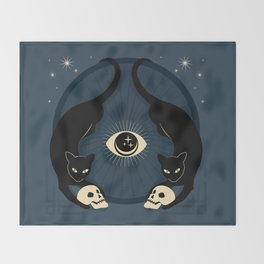 Midnight Cats Doing Their Dark Business Throw Blanket