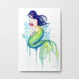 Mermaid Splash Metal Print