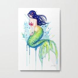 Mermaid Splash Metal Print