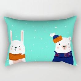 hare and bear Rectangular Pillow