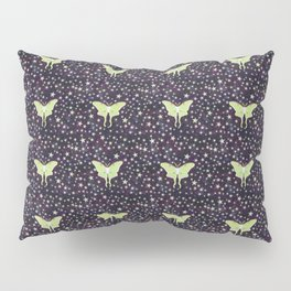 luna moth on midnight violet with stars Pillow Sham