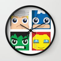 superheros Wall Clocks featuring Earth Defenders by Jconner
