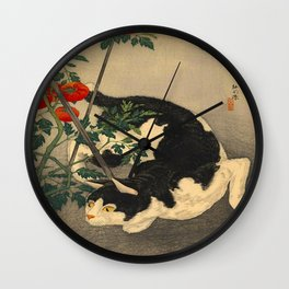 Shotei Takahashi Black & White Cat Tomato Garden Japanese Woodblock Print Wall Clock